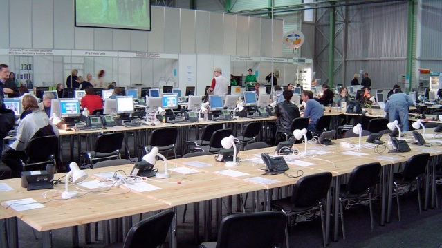 The press centre in Riga 2003. I remember this being a huge place teaming with journalists and fans. It looks so small thirteen years later. (Photo credit: Jon Jacob)