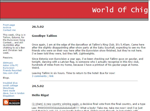 Chris Higgin's blog 'World of Chig' was one of a handful of blogs I read back in 2002.