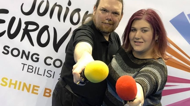 Your hosts for Junior Eurovision 2017 on the radio, Ewan Spence and Lisa-Jayne Lewis
