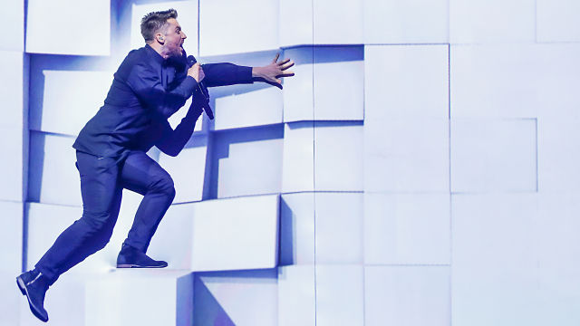 Sergey fell off his 2D platform adventure game on his first run through on the Globen stage (Photo: Andres Putting, EBU)