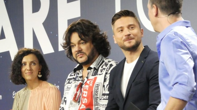 Russian Press Conference with Sergey Lazarev and the walking headline of Philip Kirkorov (source: ESC Insight)