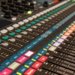 Mixing desk in a recording studio