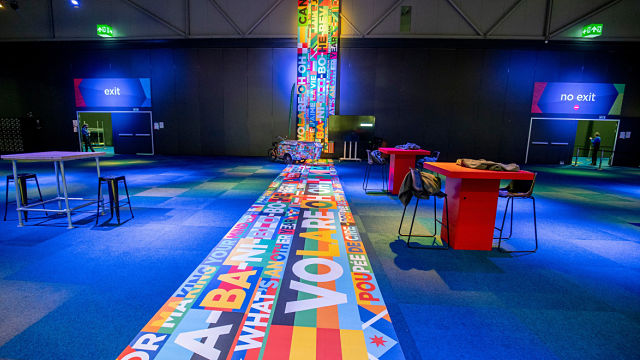 Separate entrances and exits at the Eurovision Press Centre (Photo: Andres Putting, EBU)